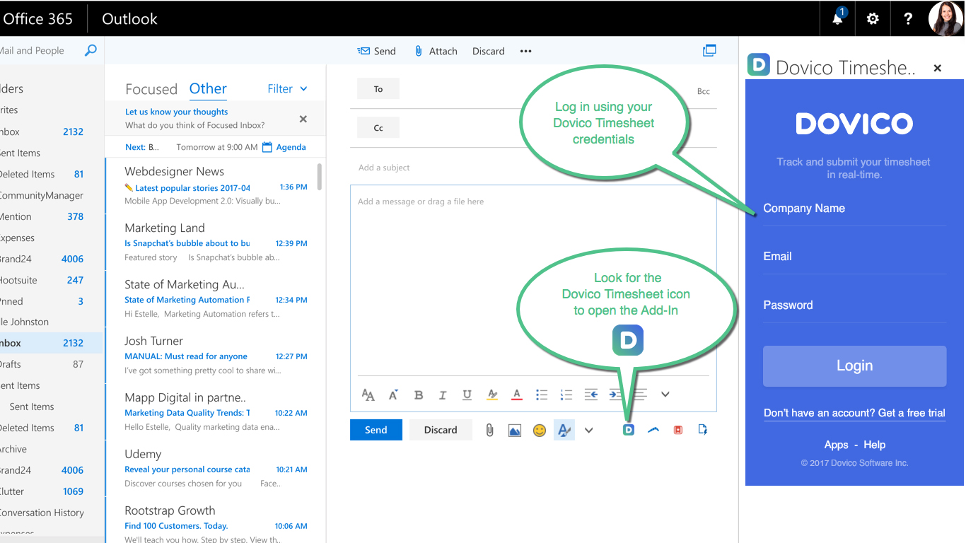 Time Entry & Tracking For Outlook | Dovico