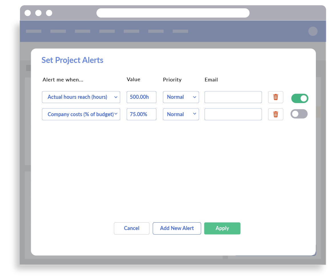 Set Project Alerts in Timesheet